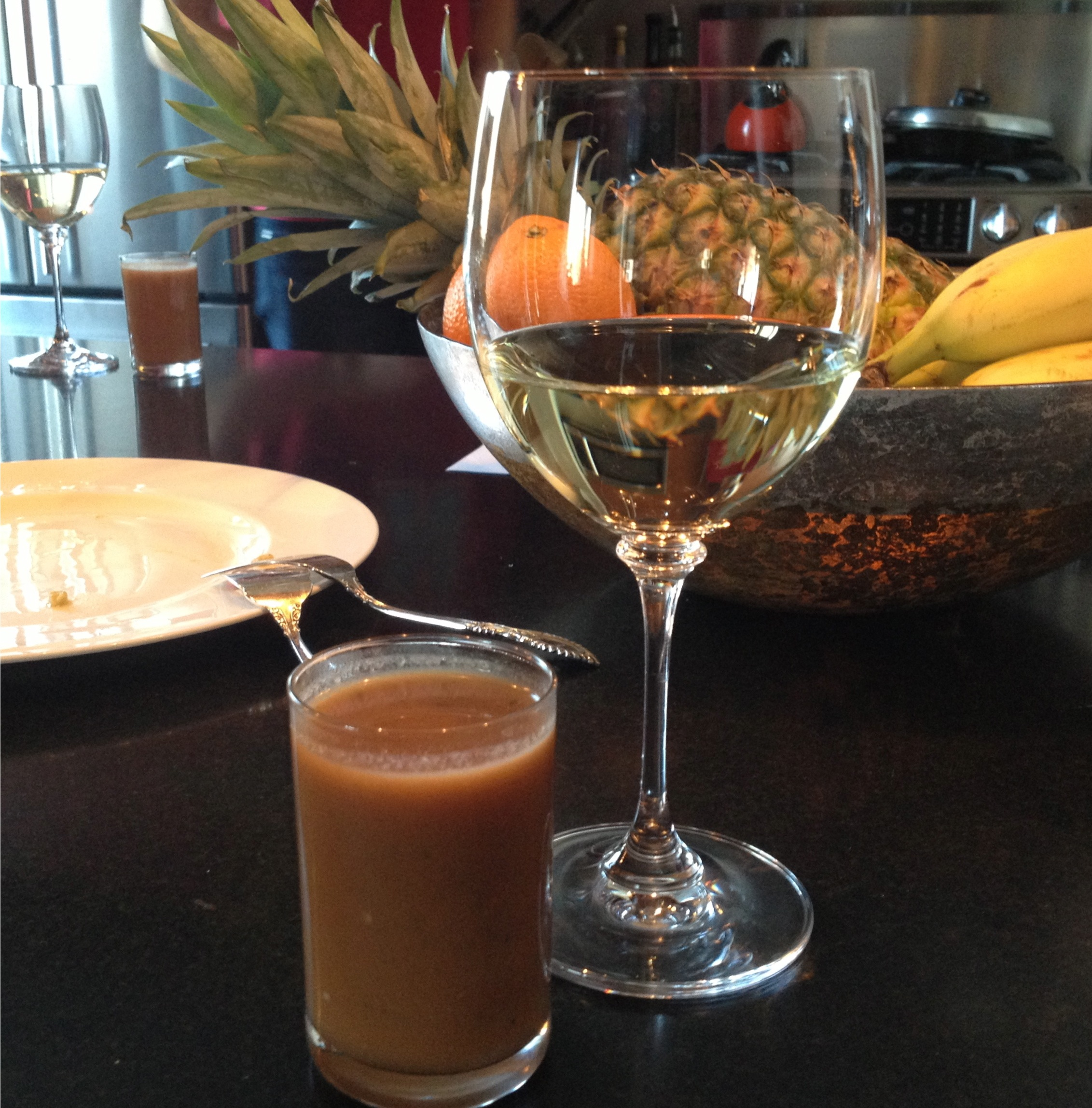 Gazpacho served in a glass, recipe from The French Laundry cookbook with a glass of Vouvray wine.