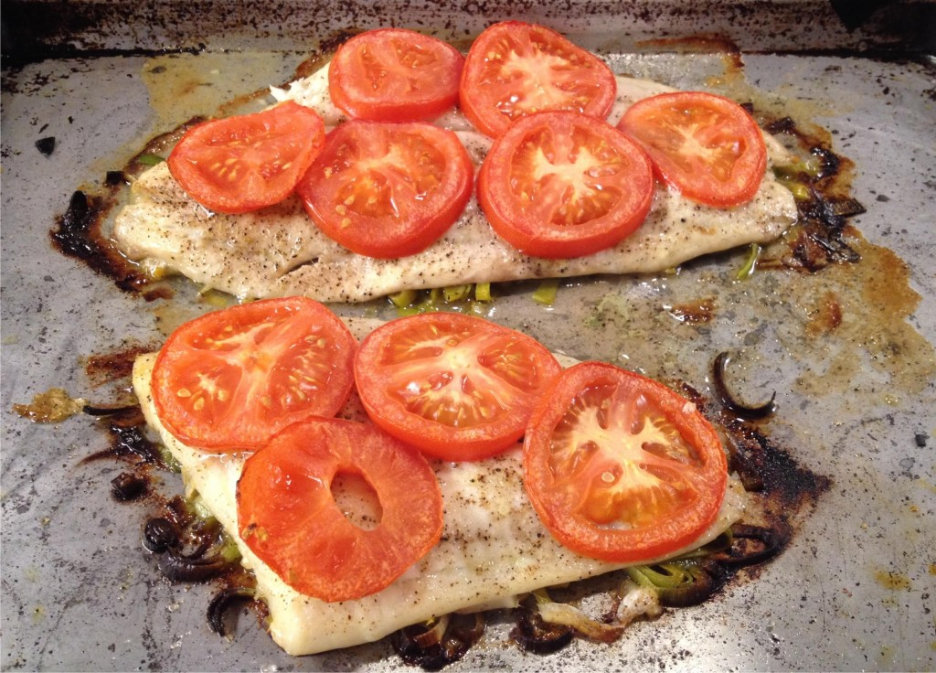 Lemon sole roasted with leeks and tomatoes for How to cook sole fish