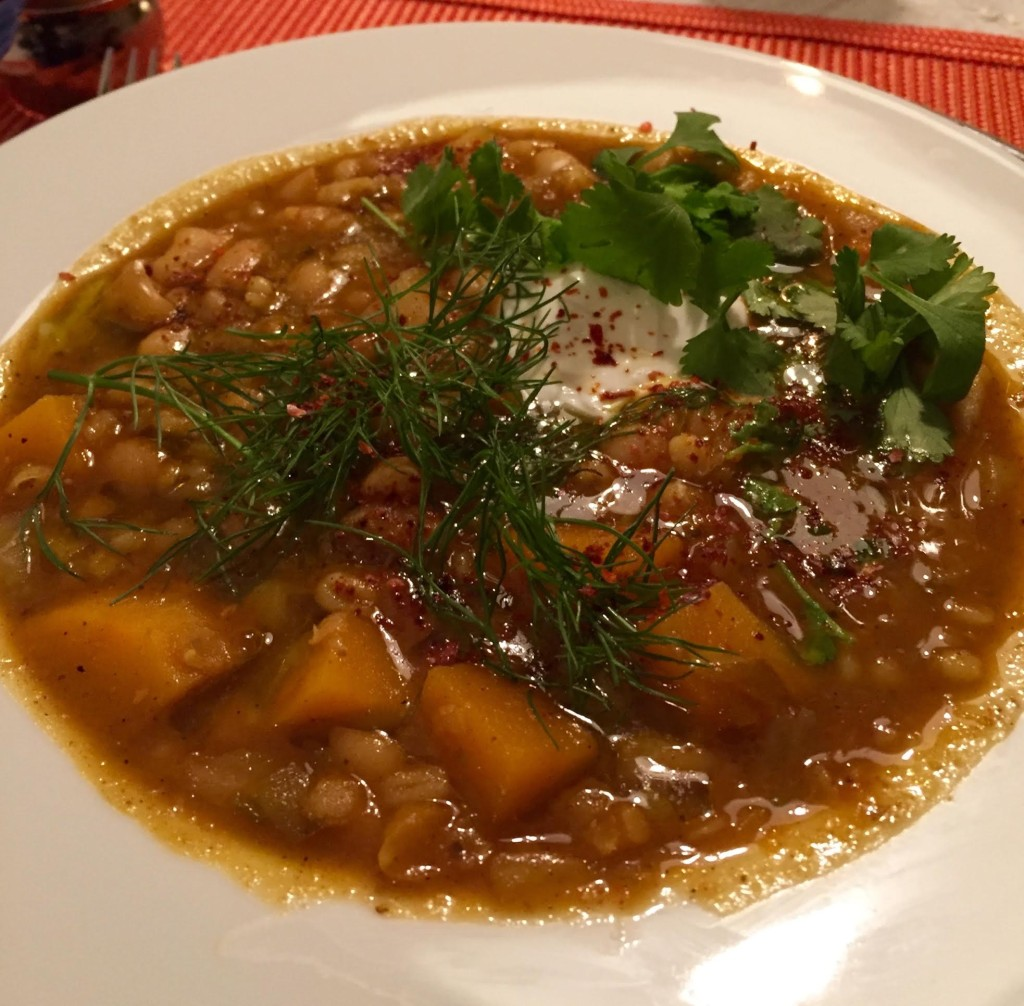 North African Bean stew - finished in a white bowl