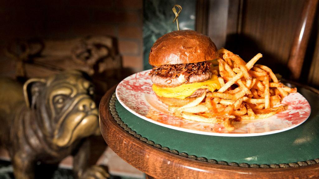 The double decker fat-laden burger at Chumley's restaurant.