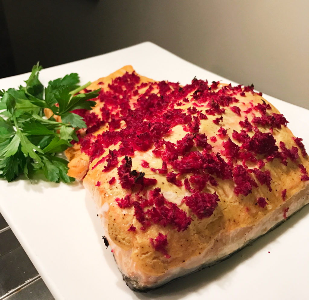 Roasted Salmon with Dijon Mustard & Beet Horseradish finished on a platter.