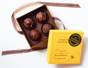 Catskill Provisions NY Honey Whiskey Truffles with the box open.